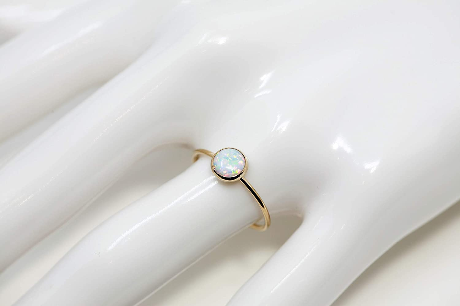 Round 6 mm Created Opal and 14K Gold Filled Skinny Ring Sizes 5-8