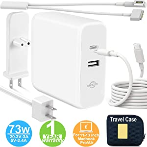 Mac Book Air Mac Book Pro Mac Book Charger, Type C 73W Power Adapter Charger with 60W Magsafe 2 T-Tip for Mac Book Air Released After Mid 2012 and Magsafe L-Tip for Mac Book Pro Before Mid 2012 Models