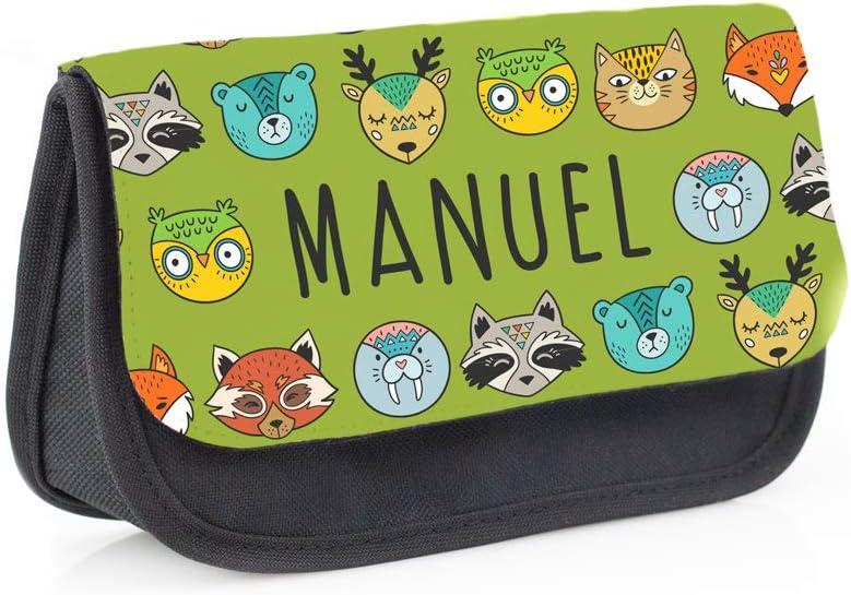 Regalo Original Estuche Escolar Infantil Personalizado con Nombre y Animales Salvajes para la Vuelta al Cole Tipo Bolsa para Material Escolar 13 cm x 21 cm