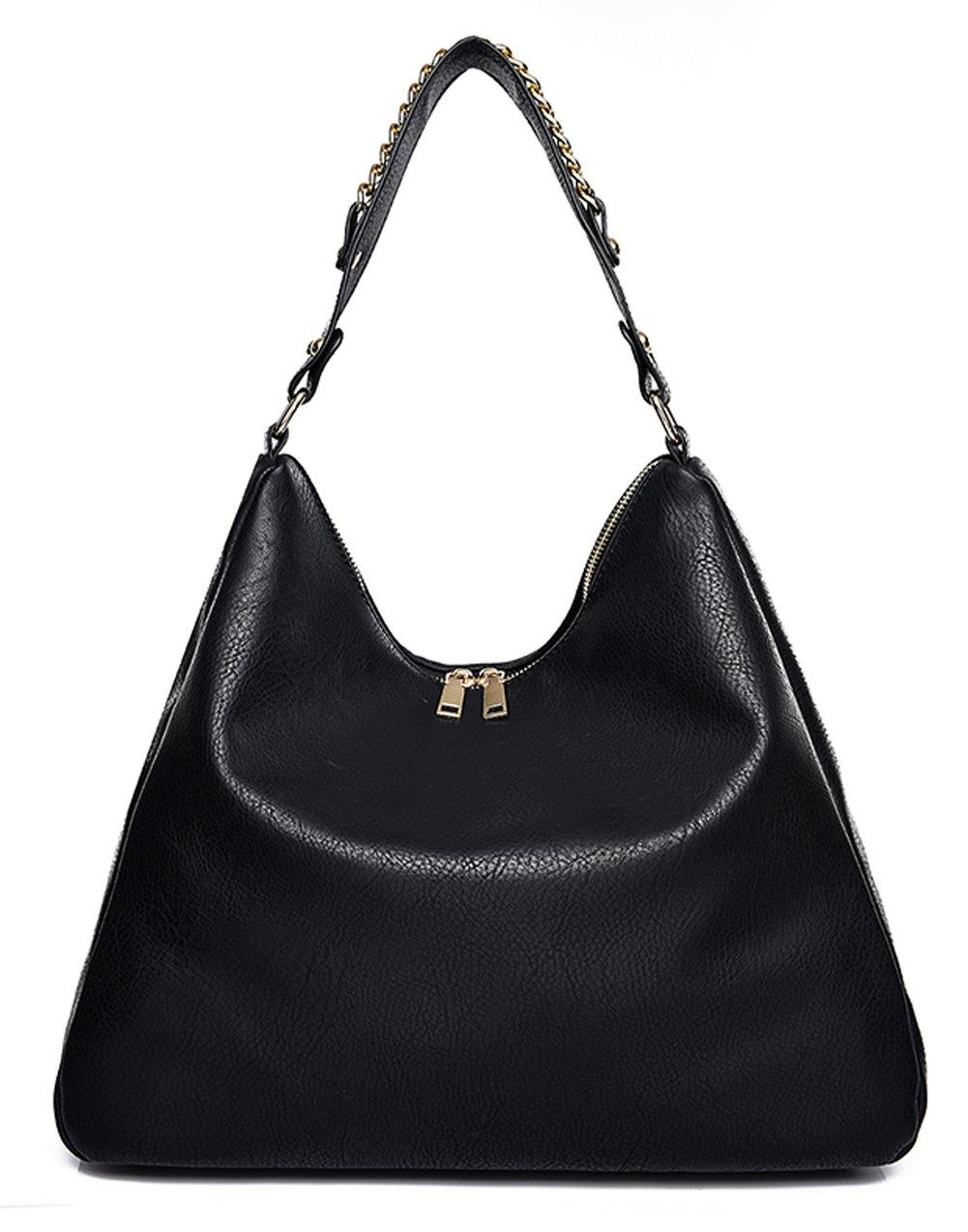 Covelin Women's Soft Leather Handbag Hobo Purse Large Capacity Tote Shoulder Bag Black