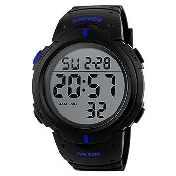 Deporte reloj multifuncional militar impermeable números grandes hombre Led pantalla Digital Business Casual reloj: Amazon.es: Deportes y aire libre