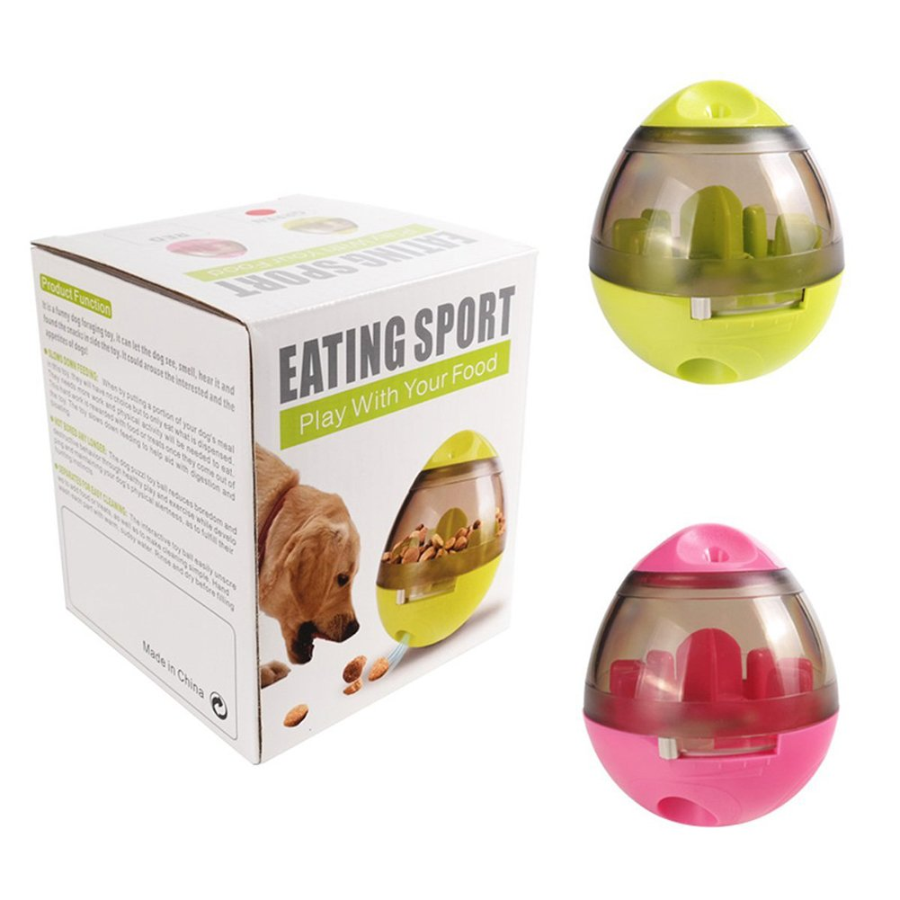 2 Pack Dog/Cat Pet Treat Ball Interactive Toys Tumbler Design,Food Dispensing Tumbler Toy:Increases IQ and Mental Stimulation Pink and Green by Garmaker (Image #6)