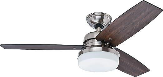 Hunter 50621 Galileo ventilador de techo Ø 122 cm, con luz, níquel ...
