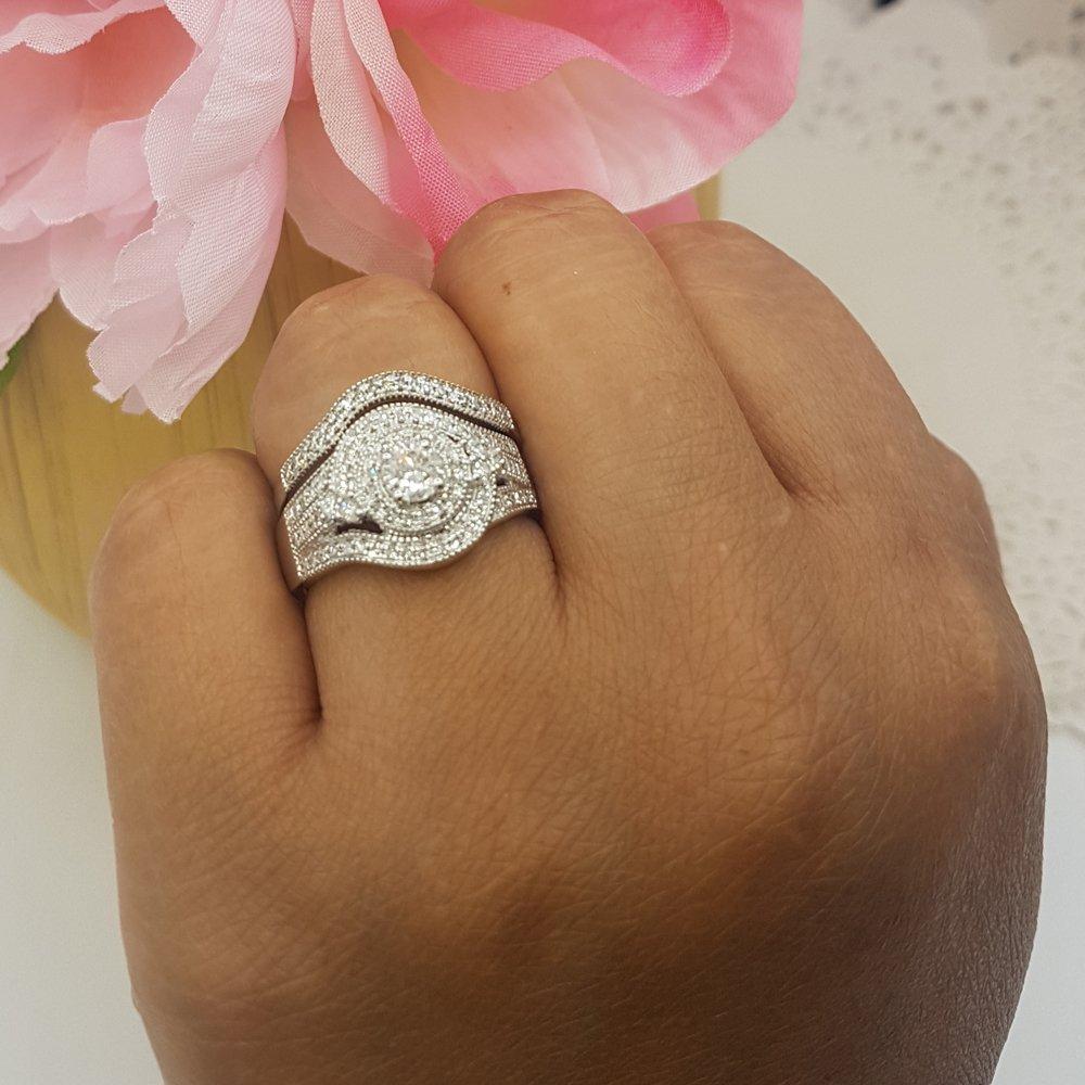 1.00 Carat (ctw) 14k White Gold Round Diamond Ladies Vintage Bridal Engagement Ring Matching Wedding Band Set 1 CT (Size 8) by DazzlingRock Collection (Image #6)