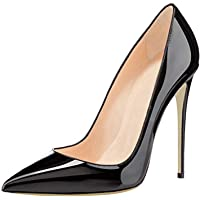 COLETER Women's Sexy Pointed Toe High Heels,Patent Leather Pumps,Wedding Dress Shoes,Cute Evening Stilettos