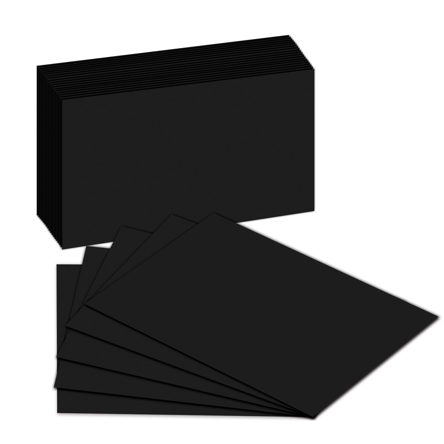 Blank Index Flash Note Cards | Black Colored Cardstock For DYI Greeting & Invitation etc. | 50 Cards Per Pack | 5 x 8