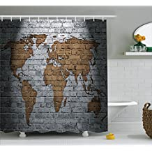 Wanderlust Decor Shower Curtain Set by Ambesonne, World Map On Old Brick Wall Countries Continents Creative Aged Vintage Rough , Bathroom Accessories, 69W X 70L Inches