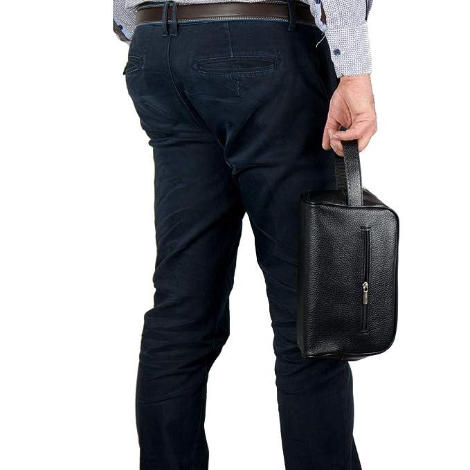 7c4aad533a Emila Pochette uomo da polso borsello chiavi borsetta a mano borsa grande  nera morbida moto casual