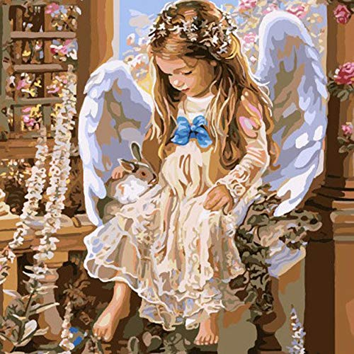 Decorative Painting Single Paintings - 40X50CM Frameless Angel Canvas Linen Canvas Oil Painting Paint By Numbers Paper - 1 x 40X50CM Frameless Canvas Painting DIY Suit (Packed wit