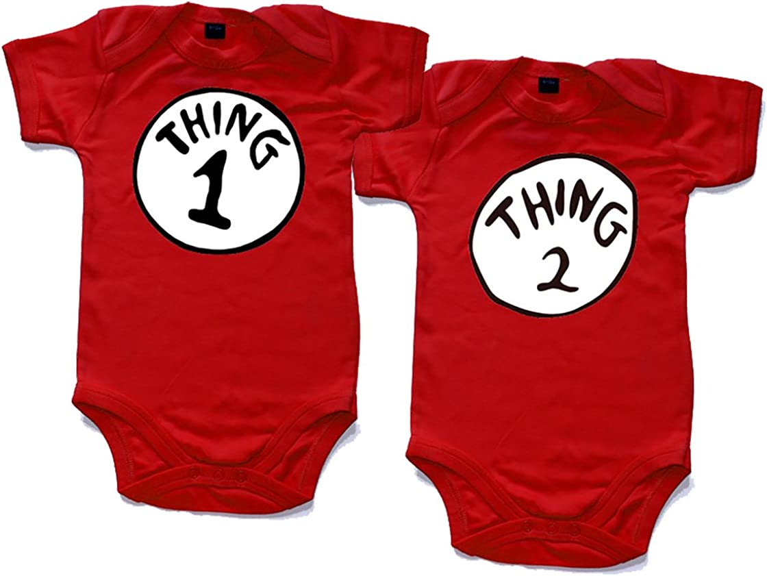 Naughtees Babygrow Thing One Two Red Cotton Twins BabyGro Babysuit baby vest