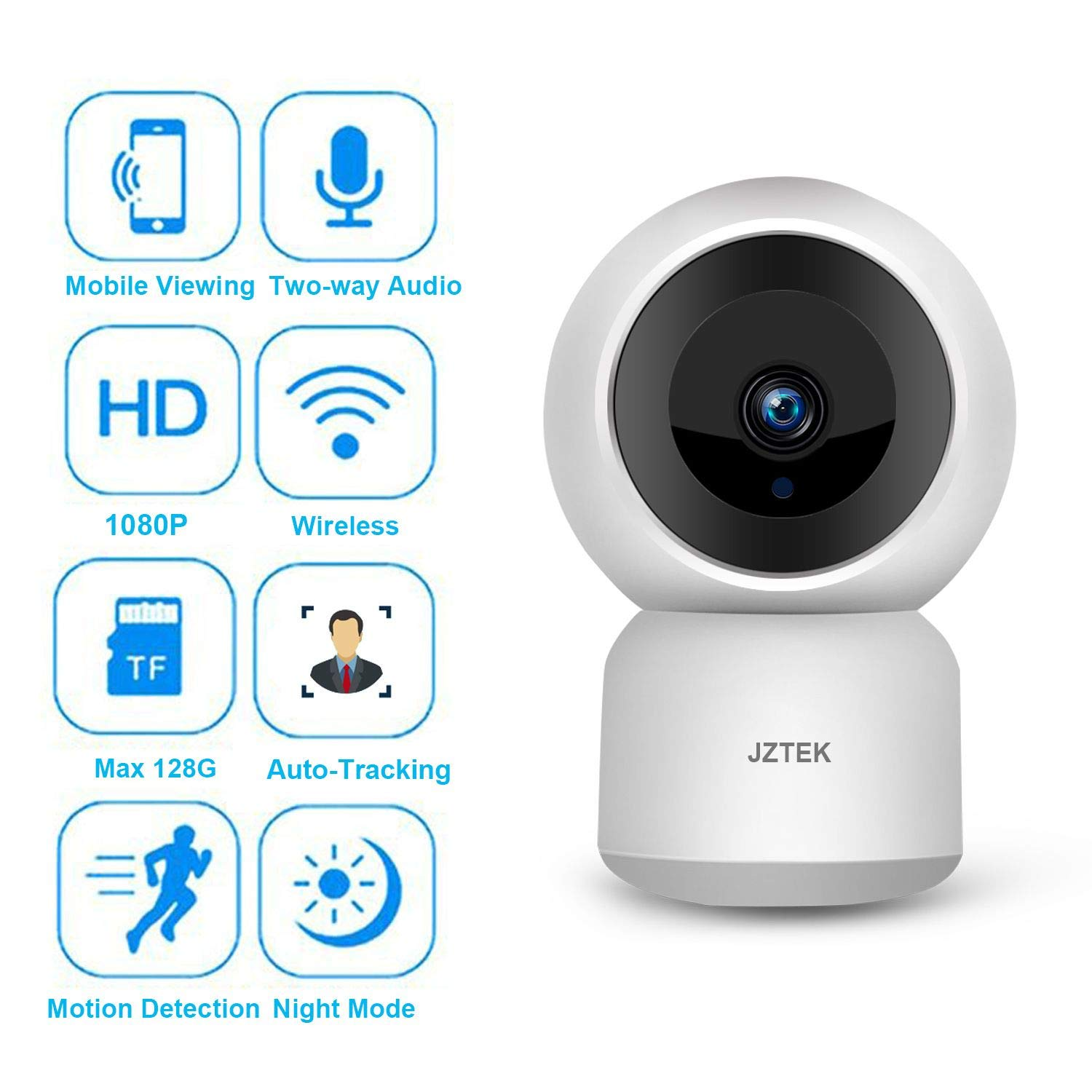 WiFi Dog IP Camera 1080P, JZTEK Smart Wireless Cam Pan/Tilt/Zoom with Cloud Service 3D Image Touch Navigation Panoramic View Night Vision, Two-Way Audio, Motion Detection for Elder,Baby,Pet by JZTEK (Image #2)