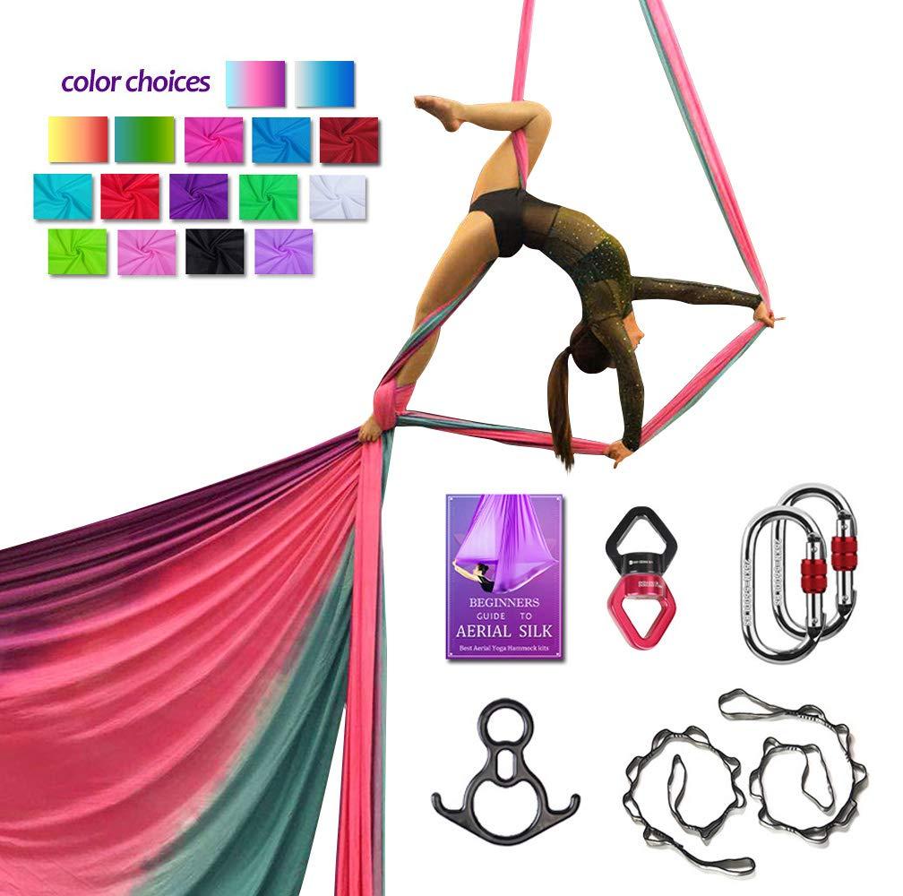 Aerial Silks Deluxe Equipment Set for Aerial Yoga, Aerial Yoga Hammock, Aerial Acrobatic,Circus Arts, Aerial Dance(L:10m W:2.8m (Gradual Change Purple)