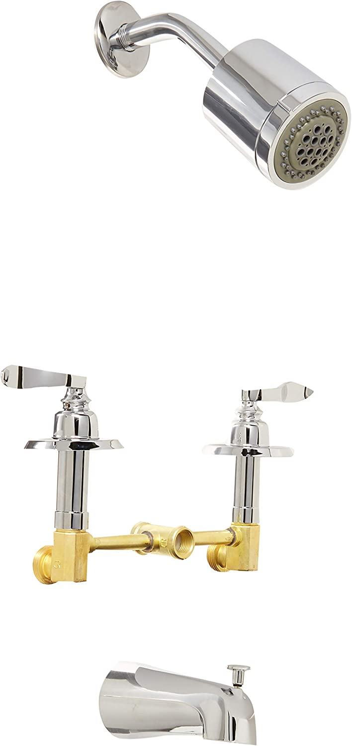 Kingston Brass KB8232NFL French Tub and Shower Faucet with 3 Nuwave Handle Polished Brass