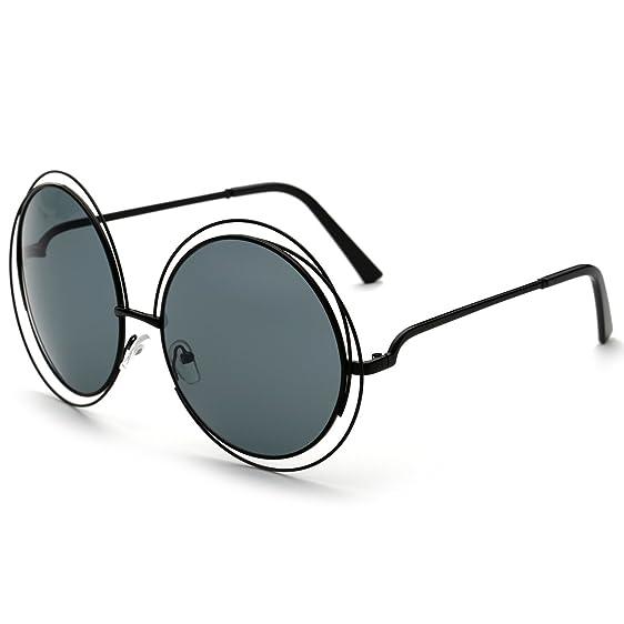 Amazon.com: Dollger Oversized Double Circle Sunglasses Round Metal ...