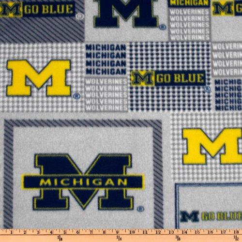 Sykel Enterprises Collegiate Fleece University of Michigan Plaid Blocks Blue/Yellow Fabric By The Yard - Michigan Wolverines Fabric