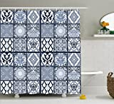 Ambesonne Ethnic Shower Curtain, Antique Arabian Oriental Mosaic with Ornaments Eastern Geometric Tile, Fabric Bathroom Decor Set with Hooks, 70 Inches, Dark Blue Baby Blue White
