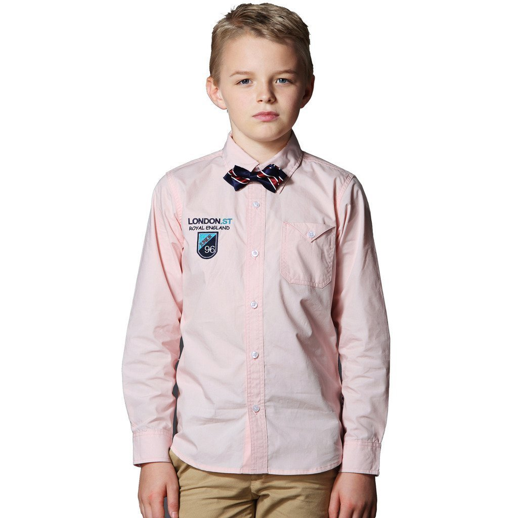 Leo&Lily Boys Classic Fine Poplin Casual Woven Shirts Garment Washed (Pink, 16)