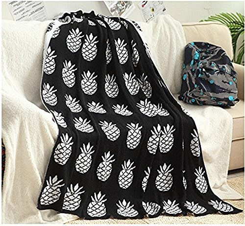 YOUSA Knitted Throw Blanket for Kids Pineapple Sofa Blankets and Throws 51''63''