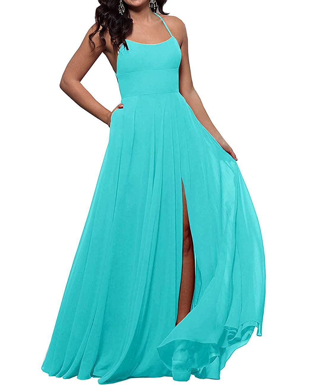 Turquoise ALine StraightNeck Long Prom Gown for Women Sexy Side Slit Bridesmaid Dresses