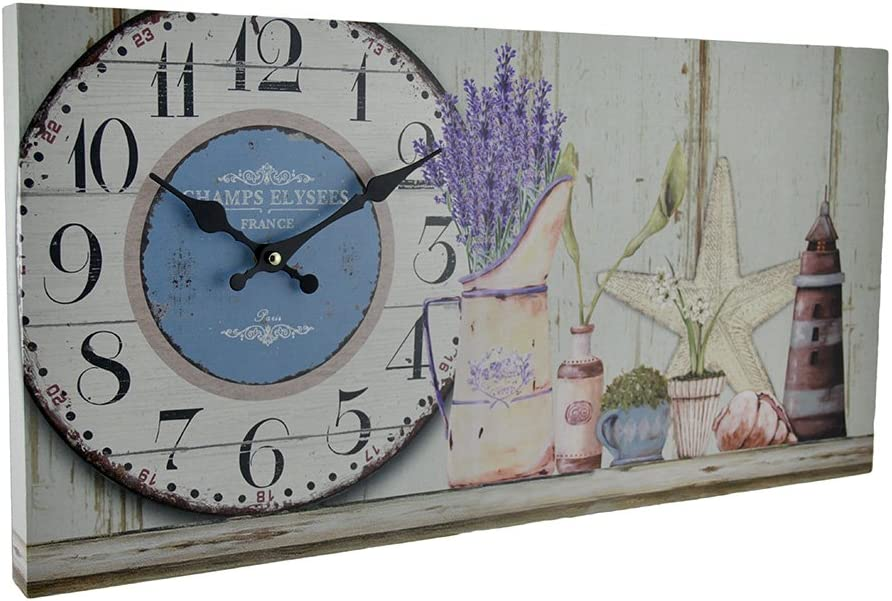 Zeckos Coastal Themed Decorative Wooden Wall Clock Gray