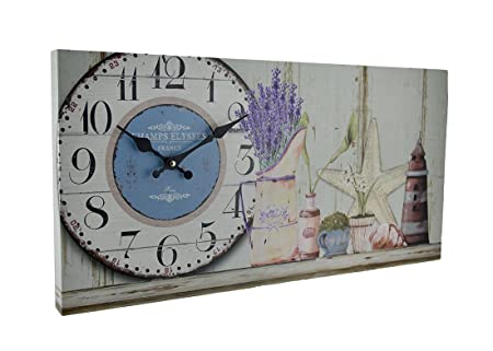 Zeckos Beach Themed Decorative Wood Wall Clock Gray