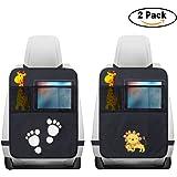 2 Pezzi Protezione Sedile Auto,WEINAS Impermeabile Sedile Posteriore Auto Organizzatori 2 x Tasca dell' Organizzatore Tasca iPad,Organizer Bambino per Sedile Auto,Protezione Sedile Auto Bambini(Nero)
