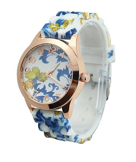 Demarkt mujer Bonito reloj, joyas Watch Pulsera de silicona forma de TESINO de China, diseño de flores, color azul: Amazon.es: Relojes