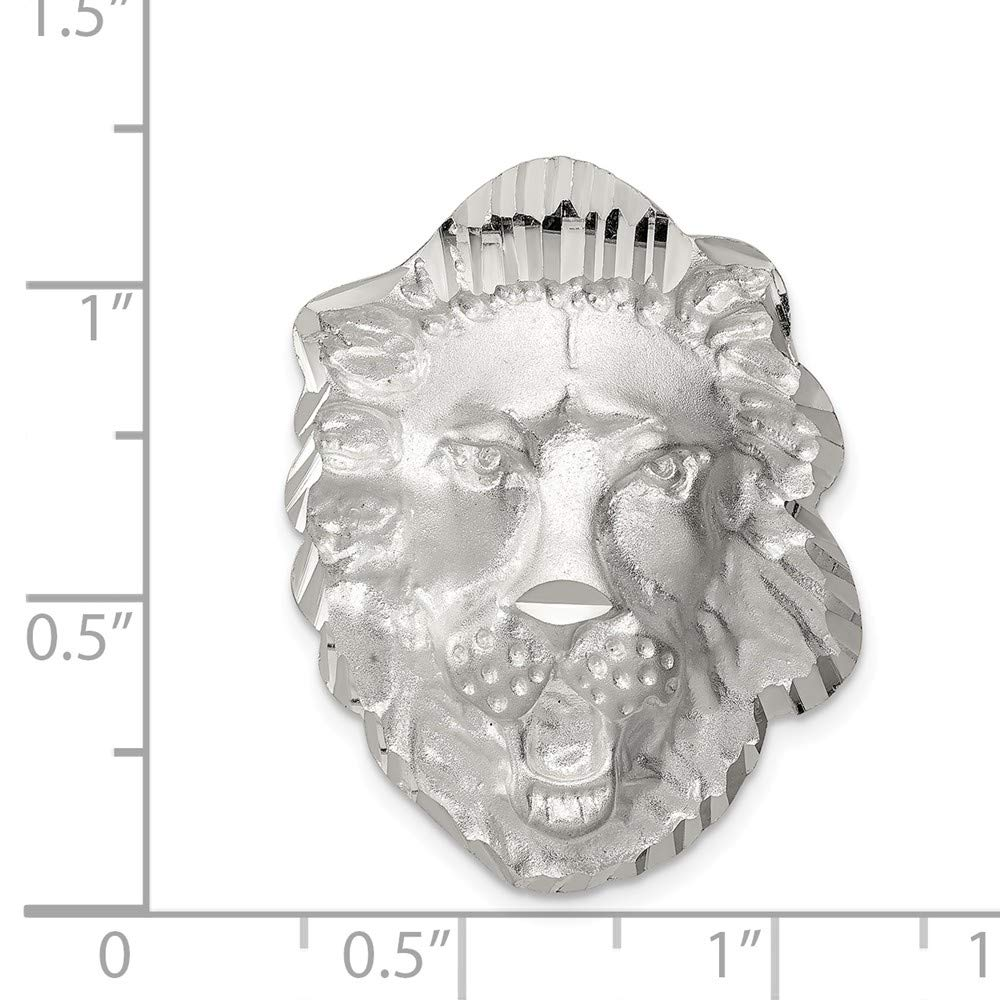 Sterling Silver Polished LION HEAD Charm 1.2IN long x 0.9IN wide
