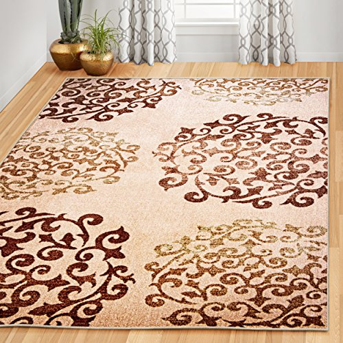 Superior's Designer Non-slip Amber Area Rug; Digitally Printed, Low Maintenance, Affordable and Fashionable, Camel - 8' x 10'