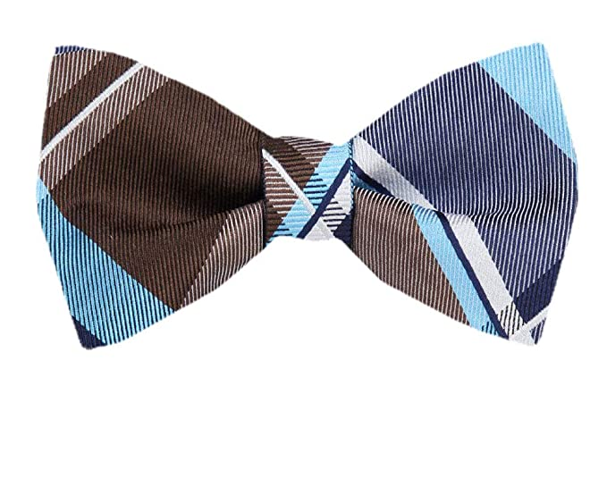 4b6afae6c71b Image Unavailable. Image not available for. Color: Men's Brown Silk Plaid  Checkered Self Tie Bowtie Tie Yourself Bow Ties