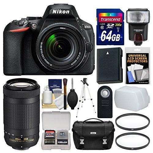 nikon-d5600-wi-fi-digital-slr-camera-with-18-140mm-vr-70-300mm-af-p-lens-64gb-card-case-flash-batter