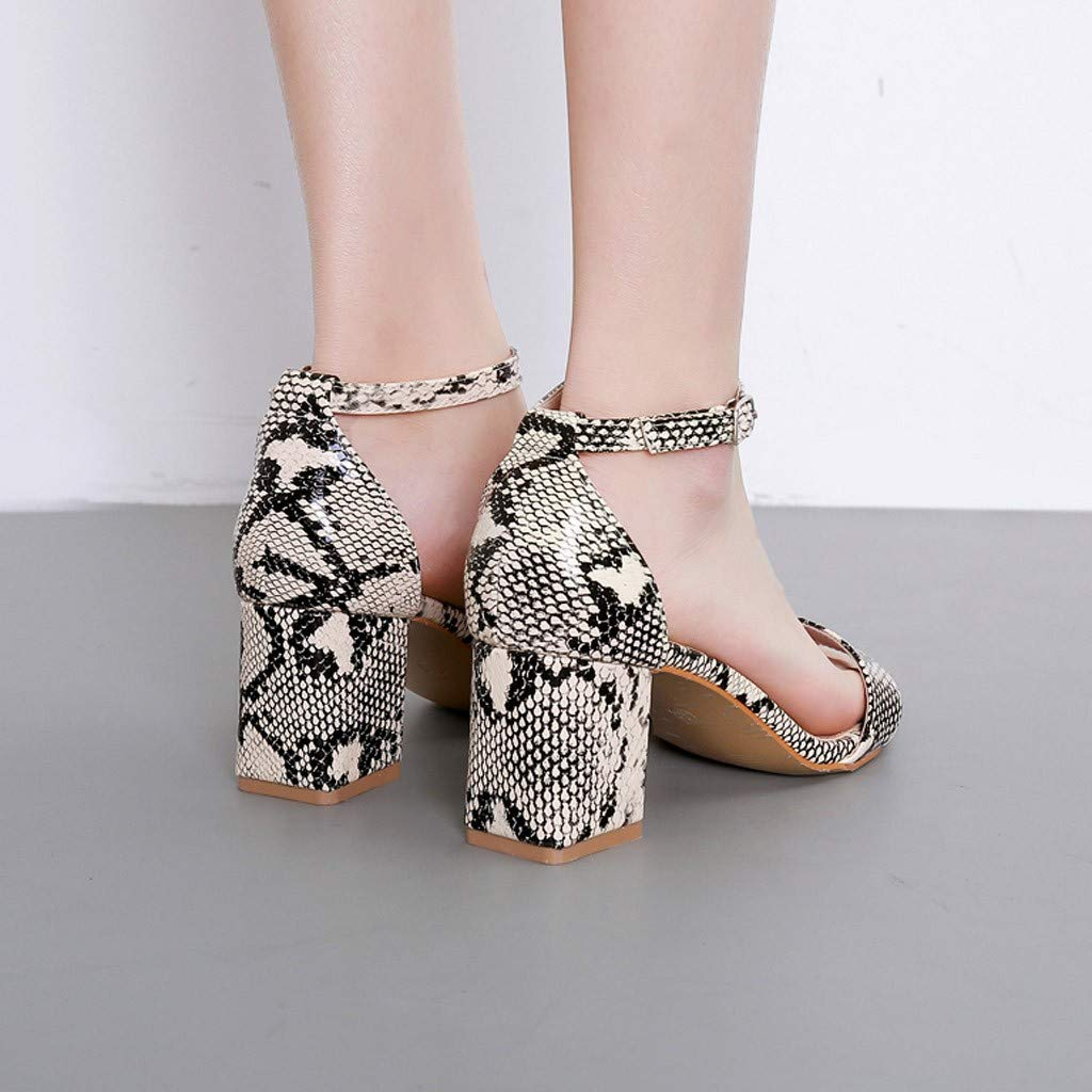 Summer Summer Women Sandals Snake Print Ankle One Word Buckle Sandals Shoes by LUXISDE (Image #4)