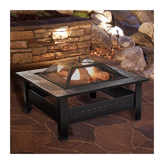 "Fire Pit Set, Wood Burning Pit -Includes Screen, Cover and Log Poker- Great for Outdoor and Patio, 32 Inch"" Marble Tile Square Firepit by Pure Garden - ULTIMATE OUTDOOR RELAXATION - This Outdoor Fire Pit is an ideal blend of contemporary modern design, natural elements, and a unique pattern with beautiful marble tile with antique bronze accents. Create lasting memories with family and friends while enjoying a cozy fire. Enjoy roasting s'mores with kids or an adult evening bon fire. The fire pit is sure to be a vivid focal point on your patio or deck for many seasons to come! DURABLE DESIGN- Enjoy your tile wood burning Fire Pit without worry. Made from powder coated steel to resist rust, this fire pit is lightweight and weatherproof for longer lasting outdoor use. The steel leg construction and decorative sturdy design will have long lasting appeal and would be a charming addition to your yard or patio. LOW MAINTENANCE AND EASY SET UP- The Pure Garden Fire Pit is easy to set up and requires very little upkeep. Wood burning for convenient heating. Clean the outside with a slightly damp cloth. No chemicals or cleaning product required. - patio, outdoor-decor, fire-pits-outdoor-fireplaces - 613Nixznv%2BL. SS570  -"