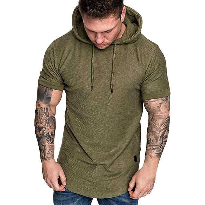 viele modisch heißer verkauf billig neue Stile FEDULK Mens Hooded Pullover Slim Fit Plus Size Short Sleeve Casual Hoodies  Sweatshirt Tops T-Shirt