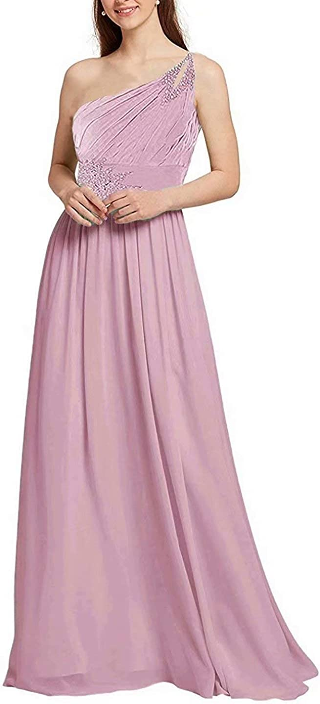 FirstL One Shoulder Prom Dresses Long for Women Asymmetric Wedding Party Gowns with Beading