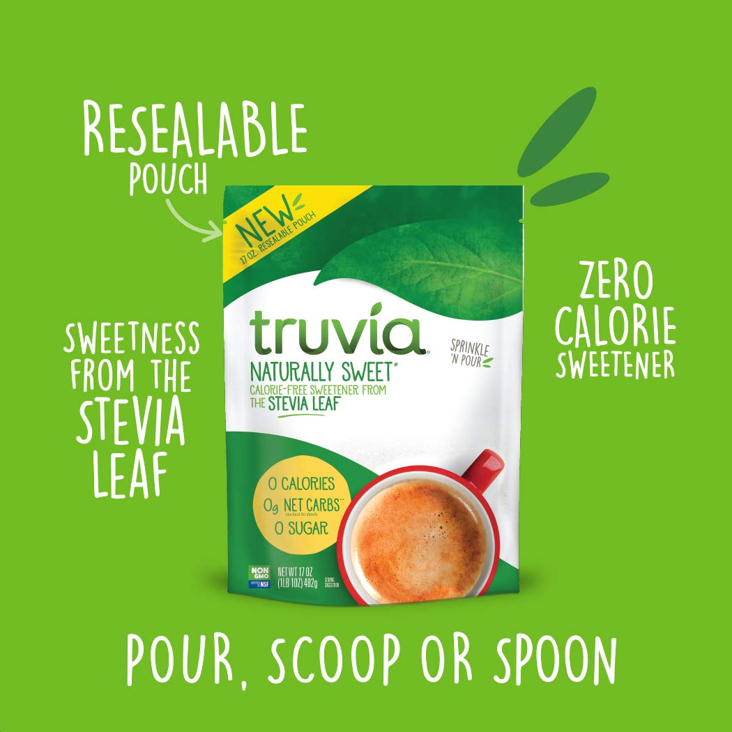 Truvia Naturally Sweet Calorie-free Sweetener from the Stevia Leaf, 17 oz. Bag, Stevia Leaf Extract blended with Erythritol Sweetener