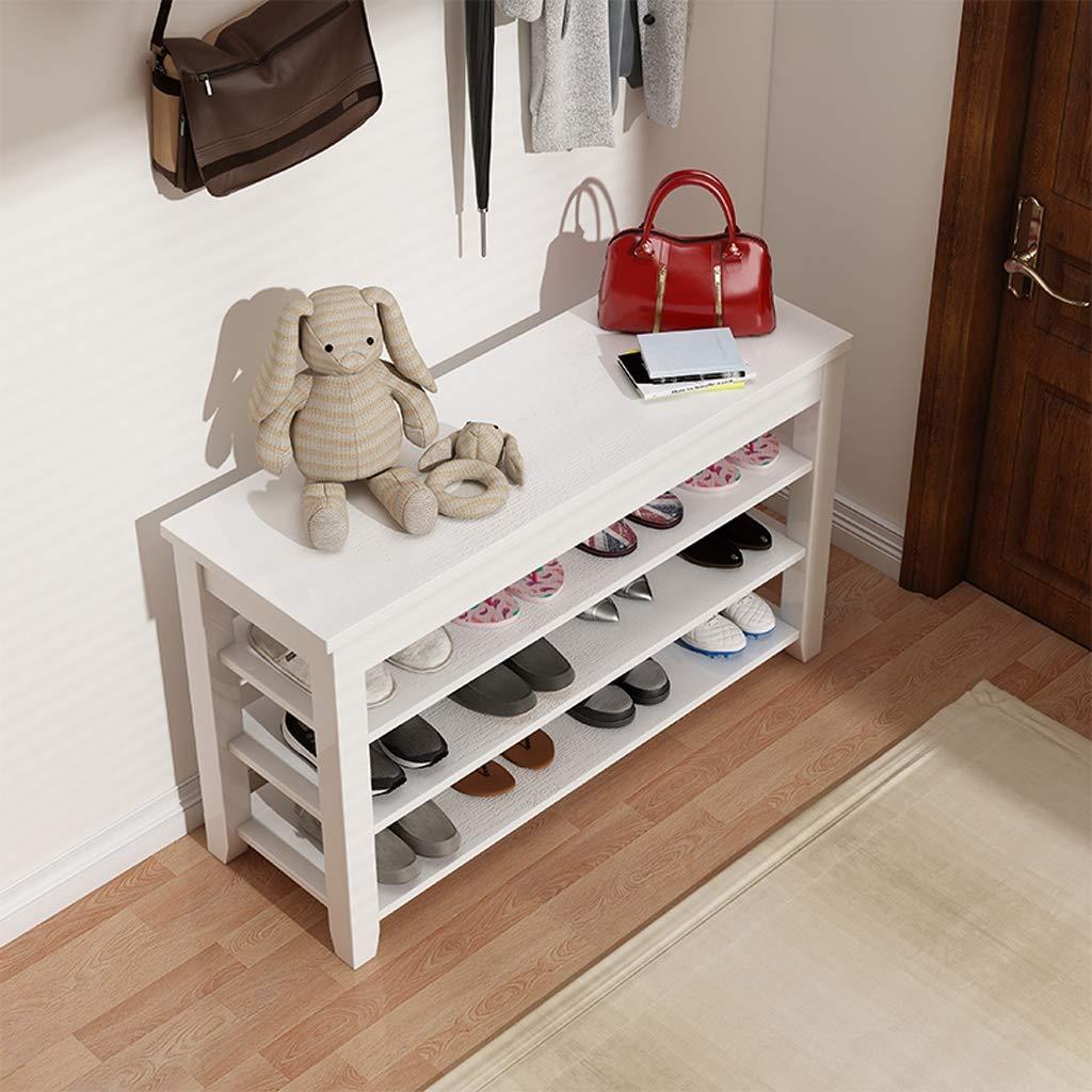 THBEIBEI Schuhbank Holz Aufbewahrungsbank 3-Tier-Schuh Regallager Regalschrank Schuhbank-Sitz-Speicher-Organisator for Flur Entryway Wohnzimmer Bed Ende Hocker (Color : White, Size : 120 * 30 * 53CM)