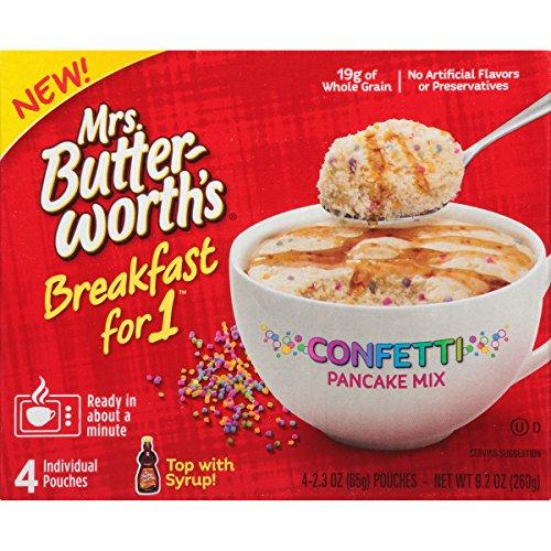 (Mrs. Butterworth's Breakfast for 1, Single Serve Pancake Mix, Warm Breakfast in Minutes, Confetti, 4)