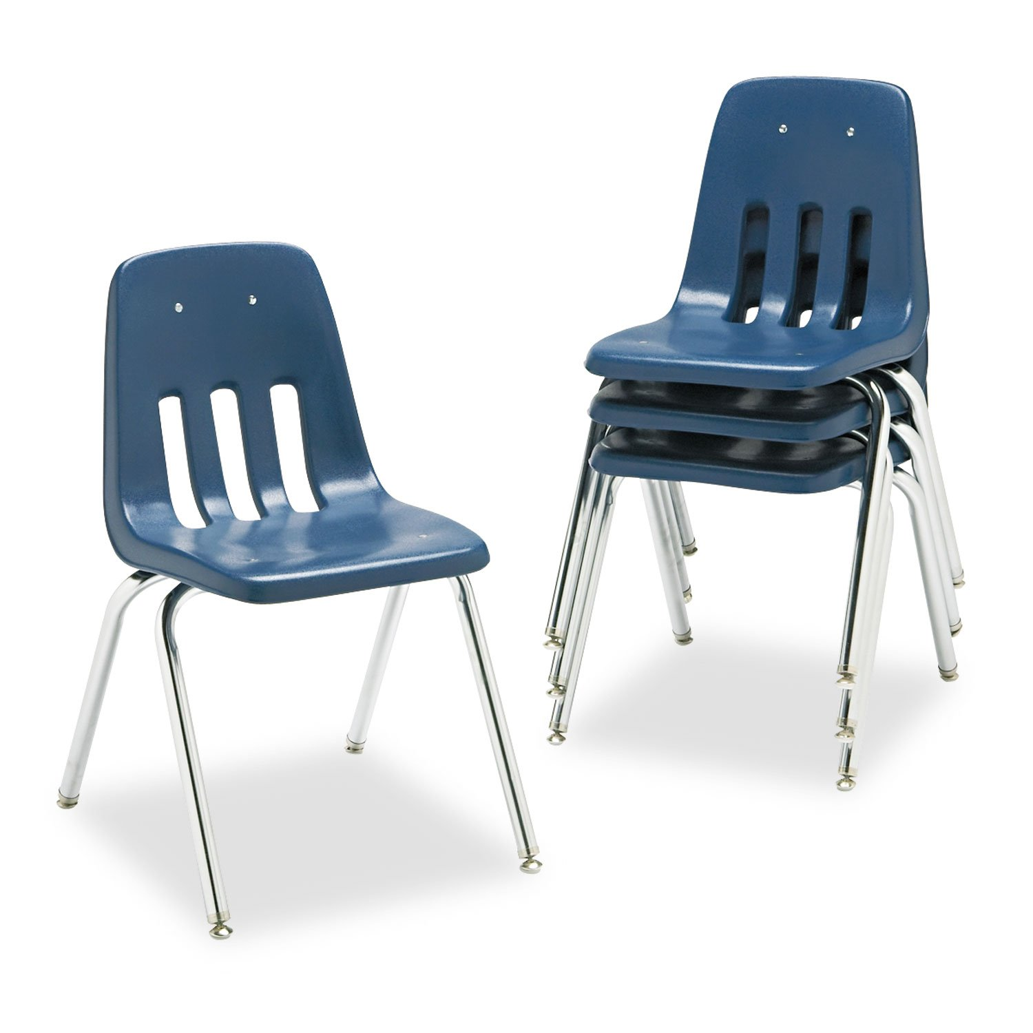 Virco Student Chair, Navy, Soft Plastic Shell, 18'' Seat Height, Chrome Frame, for 5th Grade to Adults, 4 Pack (9018-BLU51) by Virco