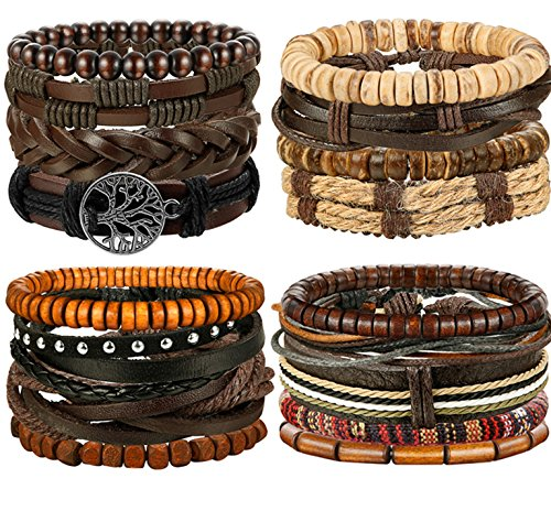 Woven Design Bracelet - FIBO STEEL 17 Pcs Leather Bracelet for Men Women Woven Cuff Bracelet Adjustable