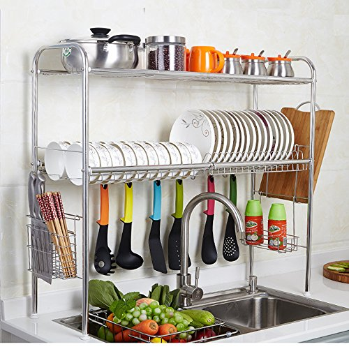2-Tier SUS304 Stainless Steel Adjustable Dish Drying Rack Utensil Holder, Removable Side Compartments For Utensils, Cutlery, Liner Dish Holder, Over the Sink Kitchen Storage Shelf (Double Groove)