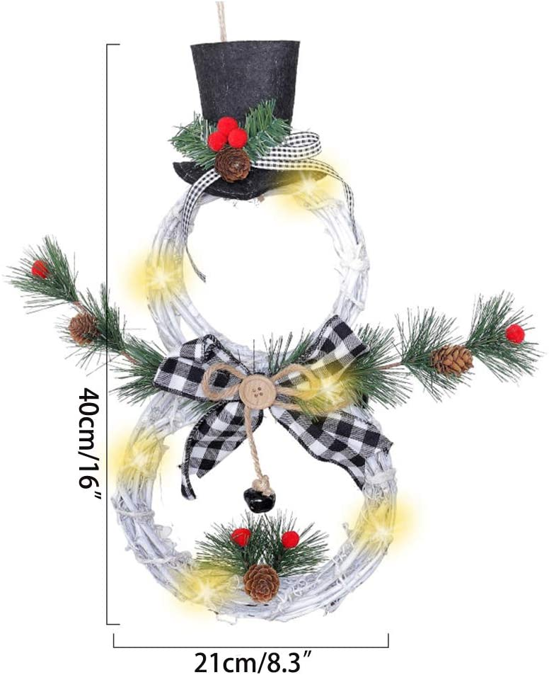 Black red Grid CHIOUPA Christmas Wreath Hanging Decor Front Door Garland Snowman Pendant 168.3 LED Front Door Hanging Home Decor Ornament Plant Vine for Party Holiday Xmas D/écor