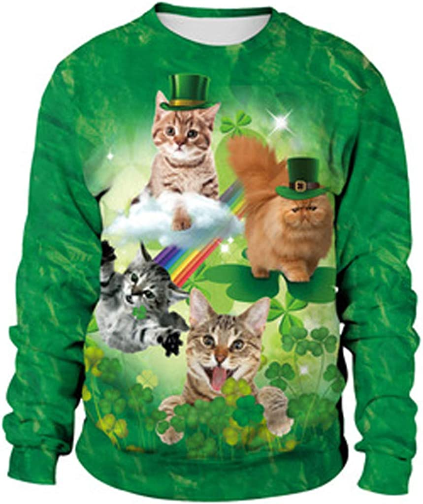 Patricks Day Printed Long-Sleeved Round Collar Blouse QingFan Mens Casual 3D Print Casual St