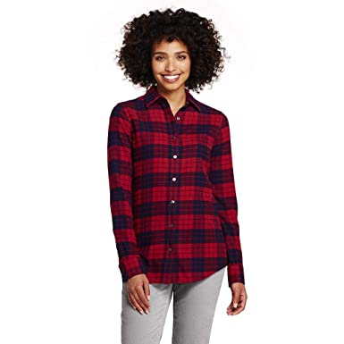 bc3d964cabf Lands  End Women s Flannel Shirt at Amazon Women s Clothing store