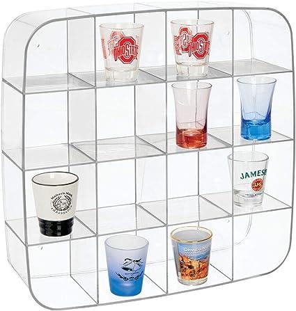 mDesign Vitrina coleccionista – Caja expositora para pared en plástico con 16 divisiones – Estantería de pared cuadrada para coches de colección, ...