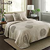 mixinni King Size Quilt Sets Grey with Shams Oversized 106'' x 96'' Classical Floral Pattern King Size Quilts and Bedspreads Cotton, Lightweight &Soft