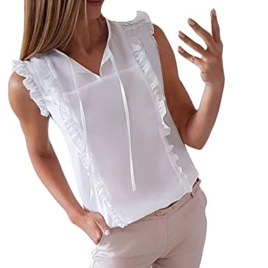 Gusspower Mujer Camiseta sin Mangas con Volantes Casual Camisa del ...