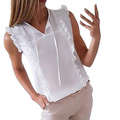 Gusspower Mujer Camiseta sin Mangas con Volantes Casual Camisa del ...