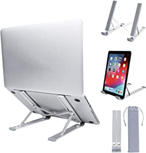 Laptop Stand,Adjustable Laptop Holder Computer Stand, Aluminum 9 Angles Notebook Foldable Stand,Ergonomic Desktop Riser Tablet, Compatible with MacBook Air Pro, Lenovo, Dell, XPS,More 10-15.6 Laptops