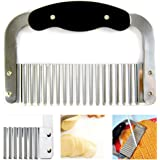 Crinkle Cutter Slicer Wavy Potato Dough Vegetable Blade Knife Stainless Steel !!
